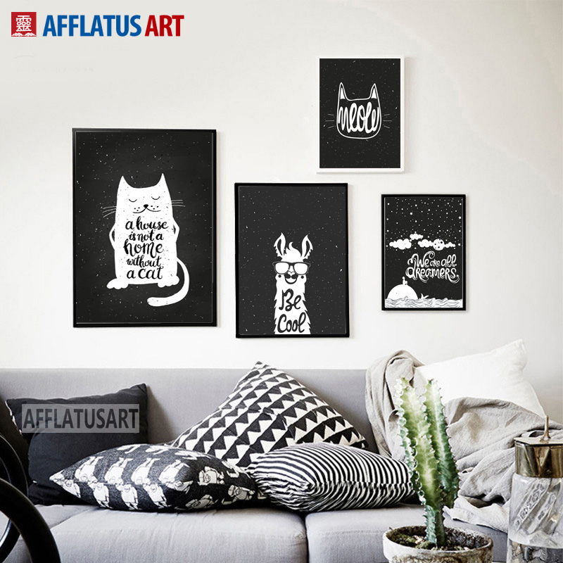 afflatus nordic cartoon canvas poster cute animals cat alpaca black white canvas painting wall art picture kids room home decor llama gifts