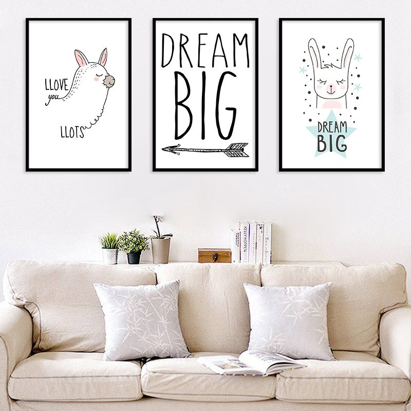 Cute cartoon alpaca canvas poster modern quotes print murals ...