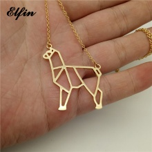 Elfin Origami Alpaca Necklace Origami Alpaca Charm Female and Male Gift Necklace Fashion Women Jewellery Geometric Jewellery