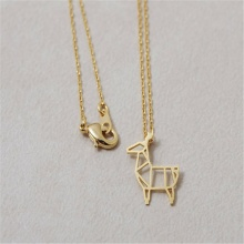 hot selling alpaca necklace origami deer necklace trendy neclaces for women