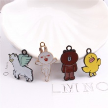 New Style 50pcs/lot Alloy drop oil Animals Cartoon Bears/Rabbits/Alpaca/Yellow duck Shape Charms Diy Jewelry Pendants Accessory