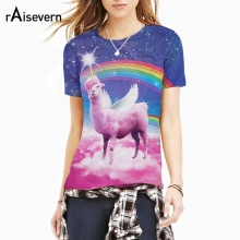 Raisevern Fashion 3D Print T Shirt Rainbow Llamacorn T-Shirt Pink Cloud In Space Galaxy Llama Shirts Women Men Clothing Tee Tops