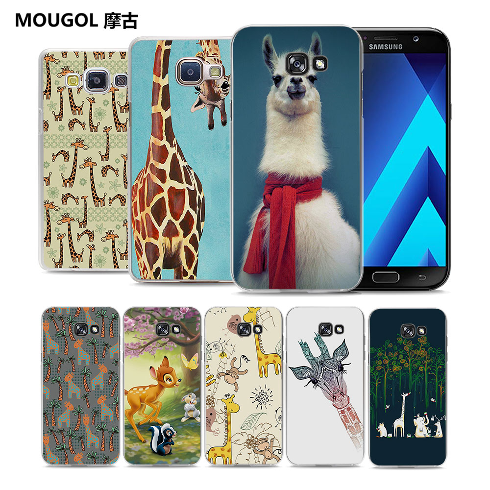 Mougol Cute Animal Llama Giraffe Clear Transparent Hard Phone Case Samsung Original Cover Casing For Galaxy A5 2016 A510 2017 A7 A8 A3 Gifts
